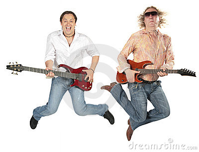 Young man and big fat man in sunglasses jump