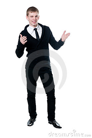 The young man in a black cardigan