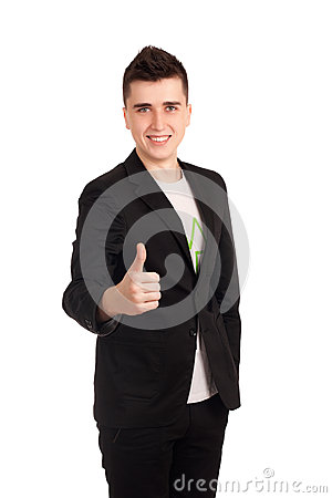 Young man in black coat show thumb up