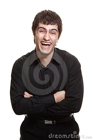 Young man in black shirt smiling isolated