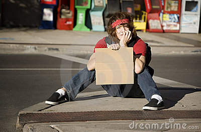 Young Man with Blank Cardboard Sign