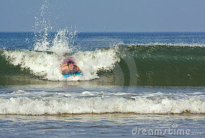 Young man on a boogie board