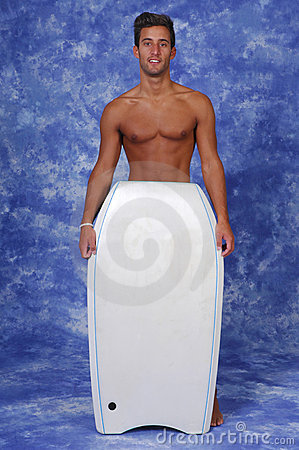 Young man with a boogie board