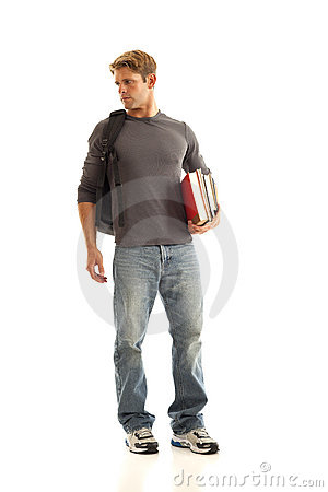 Young man with books and backpack