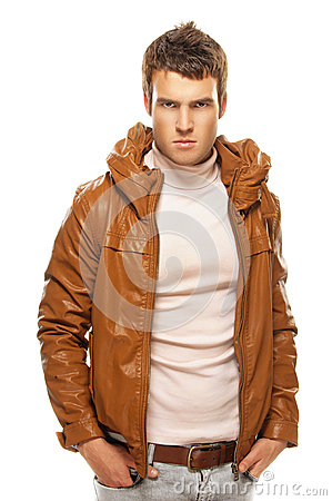 Young man in brown jacket