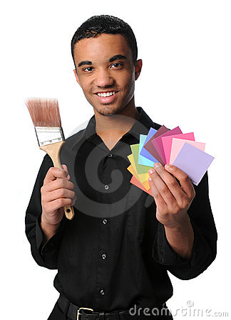 Young Man With Brush and Swatches