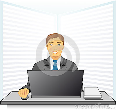 Young man in business office