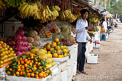 Young Man in Cambodian Market Editorial Stock Photo