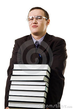 Young man carry pile of books