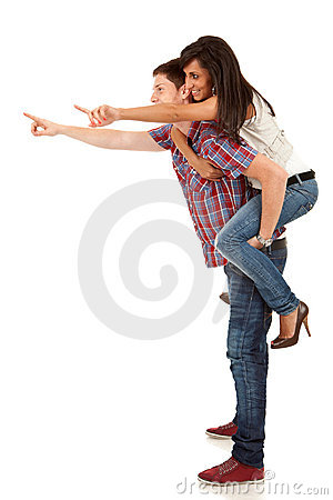 Young man carrying his cute girl on back