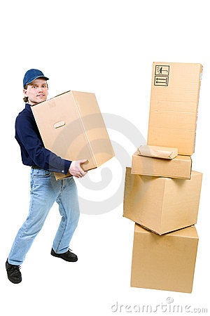 Young man carryinng a cardboard box