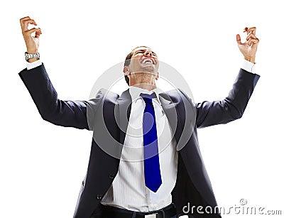 young man celebrating his success