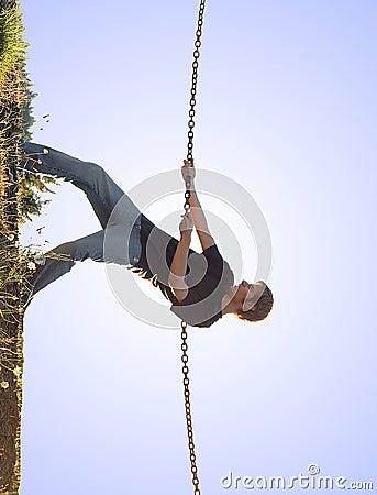 Free Young Man Climbing Up Royalty Free Stock Photo - 16266185