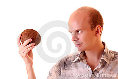 Young man with coconut