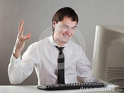 Young man at the computer