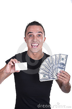 Young man with a credit card and dollars