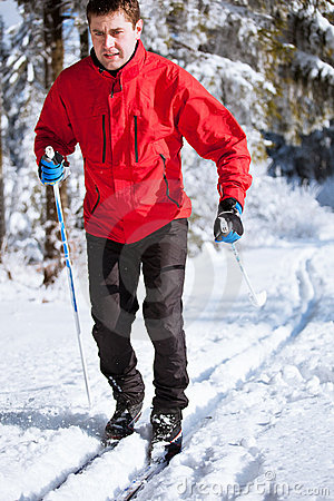 Young man cross-country skiing