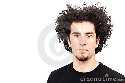 Young man with curly hair
