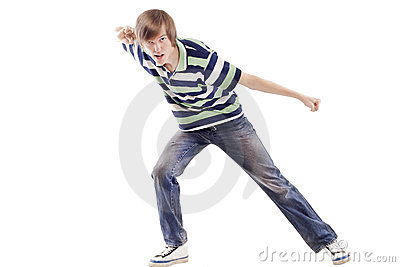 Young man dancing locking or hip-hop