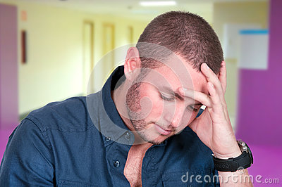Young man depressed and sad