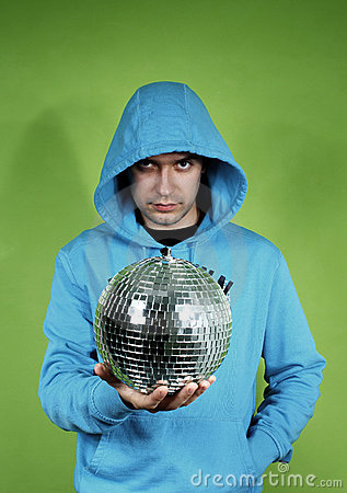 Young man with a discoball