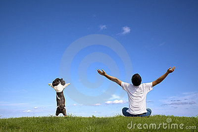 Young man with dog relaxed