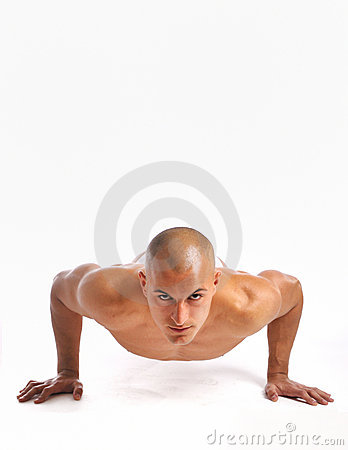 Young man doing a pushup