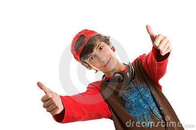Young man with double thumbs up