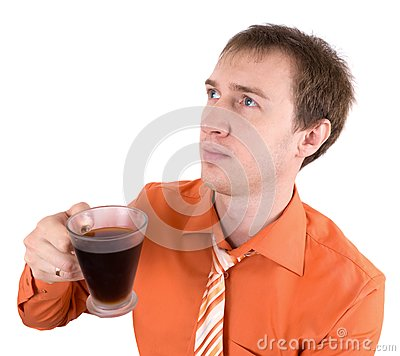Young the man drinks coffee