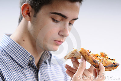 Young man eating food