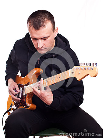 Man with electric guitar
