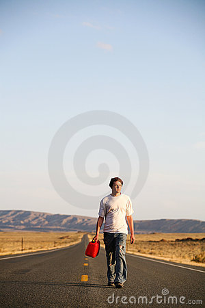 Young Man with Empty Gas Can