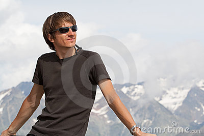 Young man enjoying the mountains