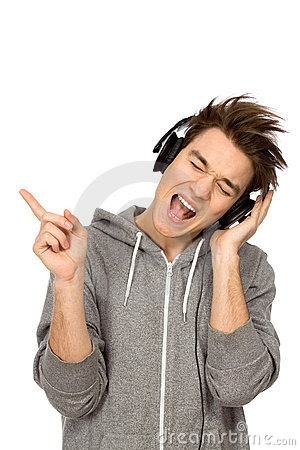 Young man enjoying music