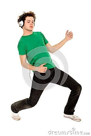 Young man enjoying music
