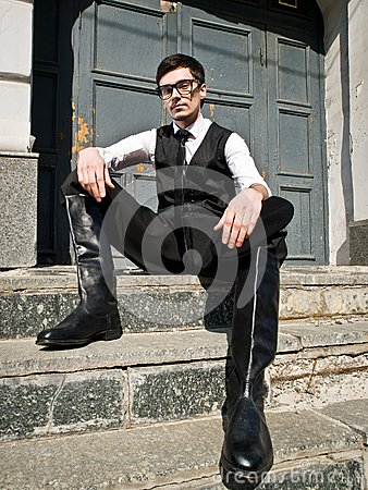 Young man in eyeglass  in vintage style