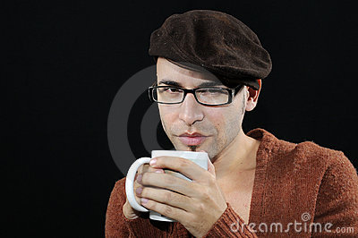 Young man with eyeglasses and cup