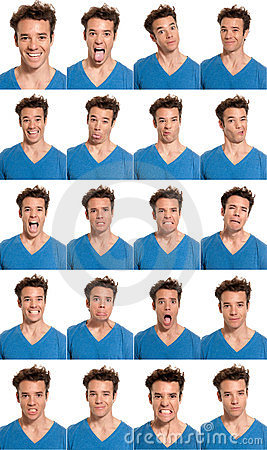 Young man face expressions composite isolated