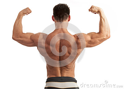 Young man flexing his arm and back muscles