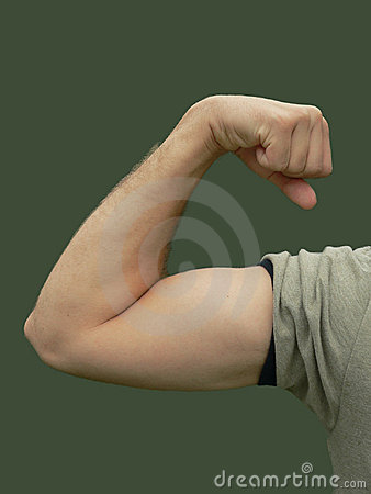 Young man flexing muscle in color