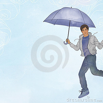 Young man flying in open air with umbrella