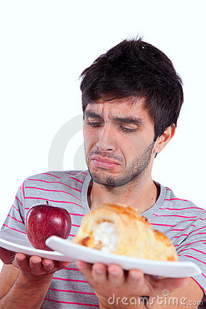 Young man food temptation