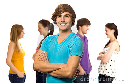 Young man with friends