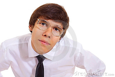 Young man in geek glasses