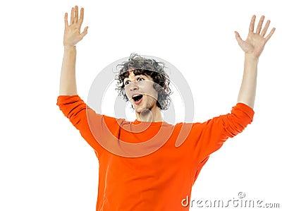 Young man gesturing surprised happy joy portrait