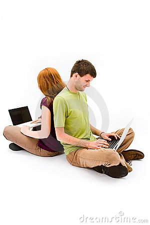 Young man and girl with laptop computer