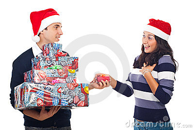 Young man  giving Christmas gift to a woman