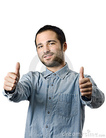 Young man giving a two thumbs up