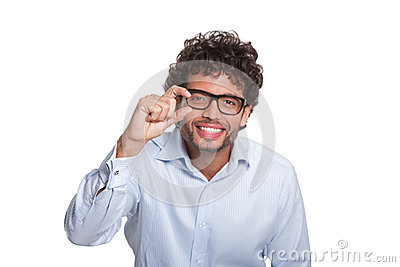 Young man with glasses gesturing with hand
