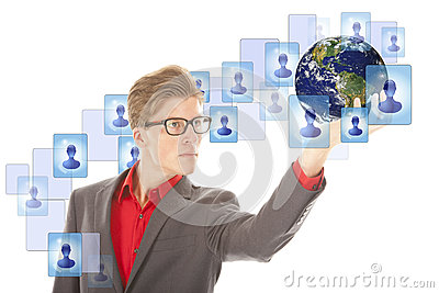 Young man with globe and virtual friends isolated Stock Photo